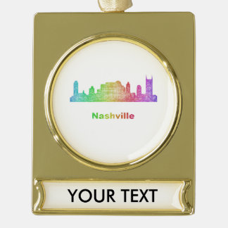 Rainbow Nashville skyline Gold Plated Banner Ornament