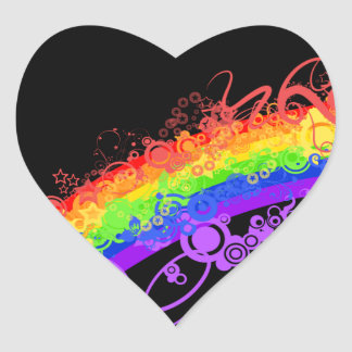 Rainbow Nebula Vector Rainbow Heart Sticker