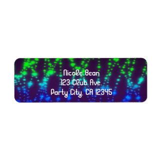 Rainbow Neon Glow Lights Sparkle Birthday Party Label
