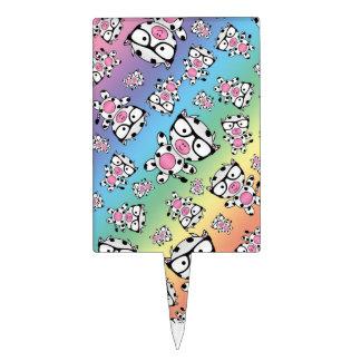 Rainbow nerd cow pattern cake picks