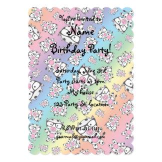 Rainbow nerd cow pattern 5x7 paper invitation card