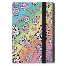 Rainbow nerd cow pattern iPad mini case