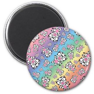 Rainbow nerd cow pattern magnet