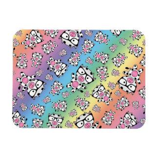 Rainbow nerd cow pattern rectangle magnets