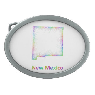 Rainbow New Mexico map Oval Belt Buckle