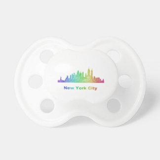Rainbow New York City skyline Pacifier