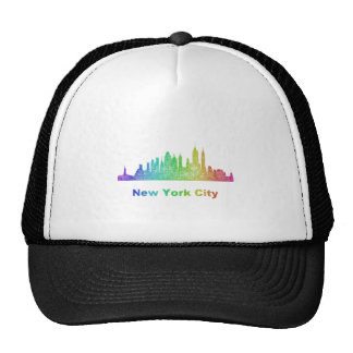 Rainbow New York City skyline Trucker Hat