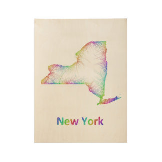 Rainbow New York map Wood Poster