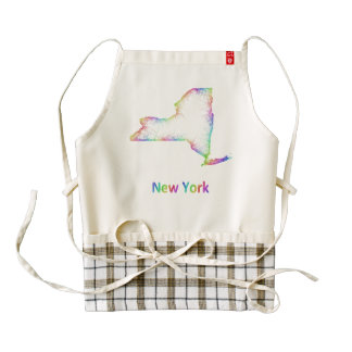 Rainbow New York map Zazzle HEART Apron