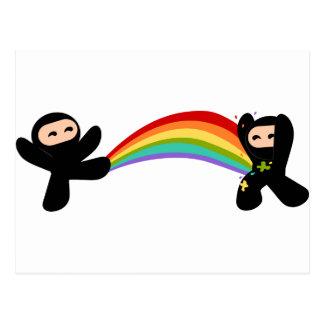 Rainbow Ninja Kick Postcard
