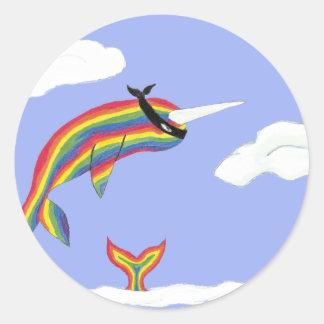 Rainbow Ninja Narwhal Classic Round Sticker