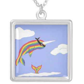 Rainbow Ninja Narwhal Square Pendant Necklace