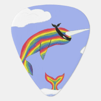 Rainbow Ninja Narwhal That Flies Guitar Pick