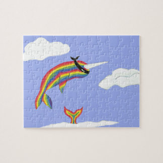 Rainbow Ninja Narwhal That Flies Jigsaw Puzzle