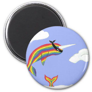 Rainbow Ninja Narwhal That Flies Magnet