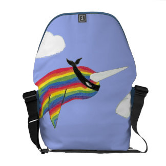 Rainbow Ninja Narwhal That Flies Rickshaw Messenge Courier Bag
