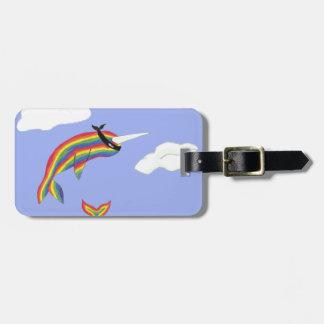 Rainbow Ninja Narwhal that Flies Tag For Luggage