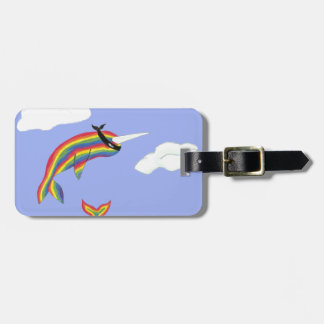 Rainbow Ninja Narwhal that Flies Tags For Bags
