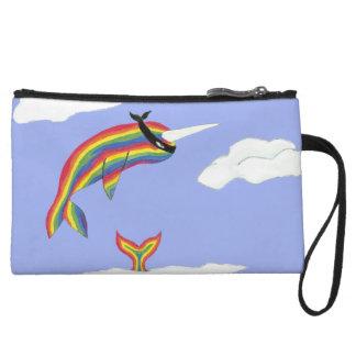 Rainbow Ninja Narwhal That Flies Wristlet Clutches