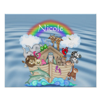RAINBOW NOAHS ARK NURSERY DECORATION Poster
