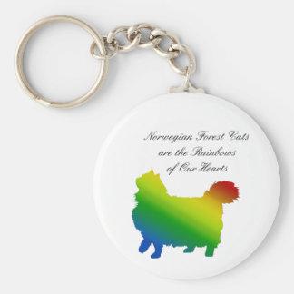 Rainbow Norwegian Forest Cat Key Chains