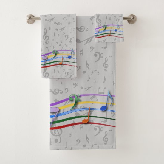 Rainbow notes on gray music notes pattern bath towel set