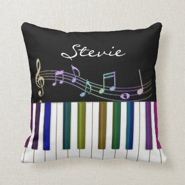 Rainbow Notes Piano Keyboard Personalized Pillow