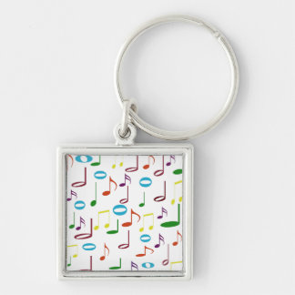 Rainbow Notes Premium Square Keychain