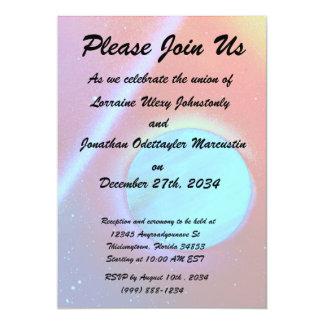 rainbow nova two blue green planets spraypaint 5x7 paper invitation card
