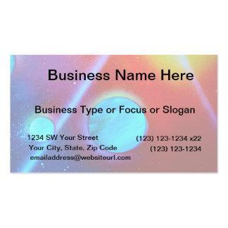 rainbow nova two blue green planets spraypaint business card