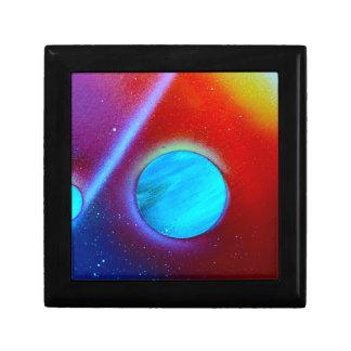 rainbow nova two blue green planets spraypaint keepsake box