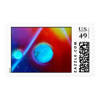 rainbow nova two blue green planets spraypaint postage stamp