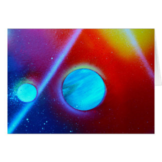 rainbow nova two blue green planets spraypaint stationery note card