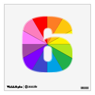 Rainbow Number 6 Six Colorwheel Numbers Wall Decal