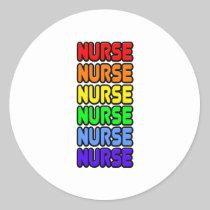 Rainbow Nurse Classic Round Sticker