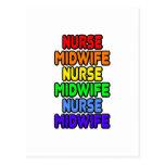 Rainbow Nurse Midwife Post Cards