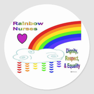 Rainbow Nurses Classic Round Sticker