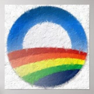 Rainbow Obama Impasto Painting Posters