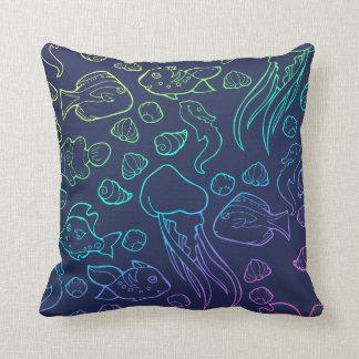 Rainbow ocean life throw pillow