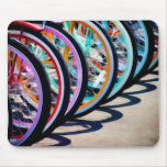 Rainbow of bicycles mouse pad