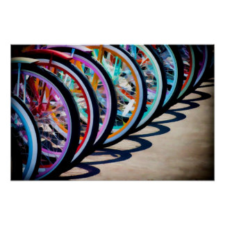 Rainbow Of Bicycles Posters