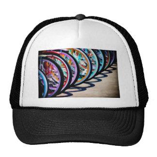 Rainbow of bicycles trucker hat