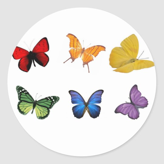 Rainbow of Butterflies Classic Round Sticker