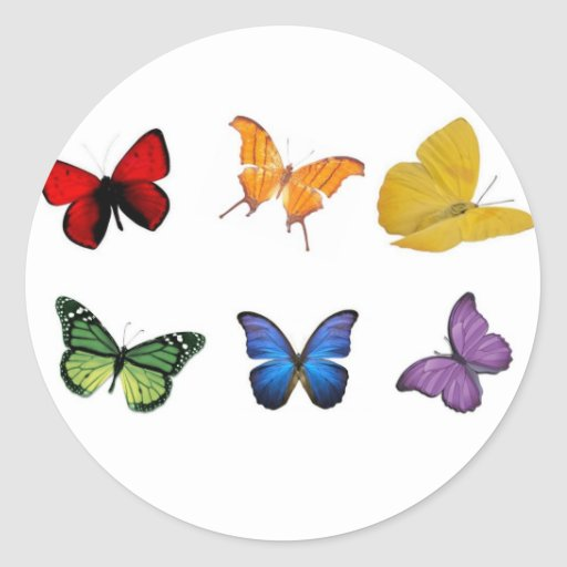 Rainbow of Butterflies Round Sticker