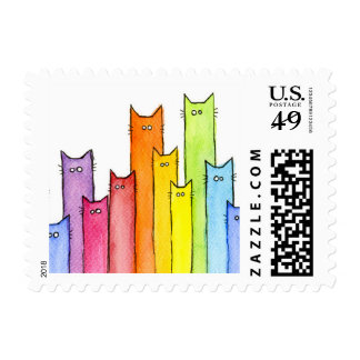 Rainbow of Cats Cute Funny Stamps Postage