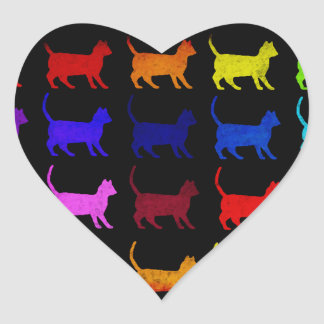 Rainbow Of Cats Heart Sticker