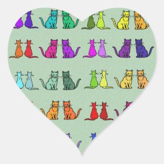 Rainbow Of Cats Heart Sticker