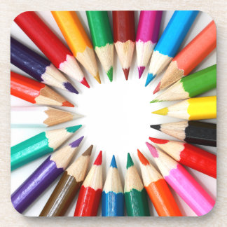Rainbow of Colored Pencil Points 2 Beverage Coaster