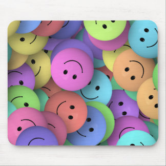 Rainbow of Colorful Happy Faces Mouse Pad