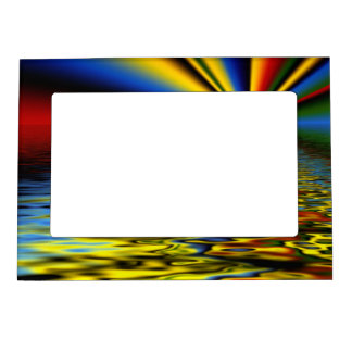 Rainbow of Colors Reflected Over Rippling Water Magnetic Picture Frame